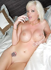 Amazing milf with big round titties get her blonde ass pounded hard on the edge of the bed ah yeah