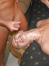 Blonde milf with huge rack gets introduced to the hunter by cock insertion