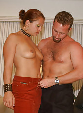 Milf with nipple rings and black thong getting banged on a lazyboy