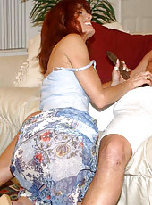 Yummy milf with red hair and tight body gets reamed by the hunter