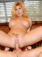 Blonde milf gets picked up at the flea market then taken home and banged