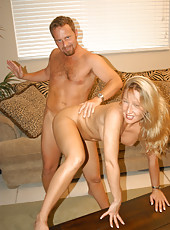 Real sexy blonde getting spanked while she gets banged form behind