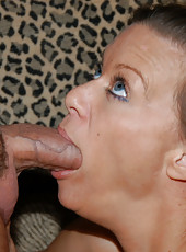 Cock hungry blonde milf takes all of the hunters cock in her mouth