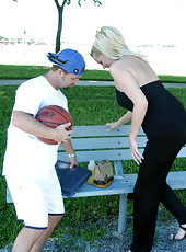 The hunter meets a blonde milf at the basketball court thens takes her home for sex
