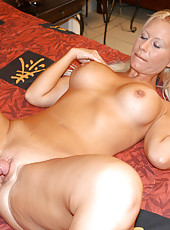 Busty blonde milf in bikini gets banged and then jizzed on her tits