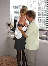Hot blonde mom gets fucked hard on the balcony of her apartment