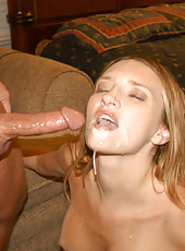 Sweet tight milf gets some man juice in her mouth