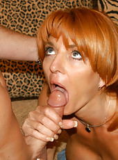 Voluptous milf eagerly sucks big cock