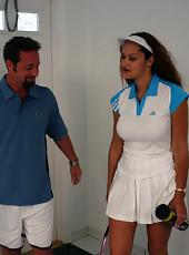 Hot brunette milf gets banged after a set of tennis