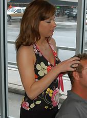 Milf hairdresser gets crushed in the back room of her shop