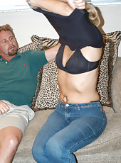 Sweet blonde milf gets done doggy by the hunter