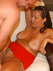 Thick milf with massive jugs gets boned by the hunter