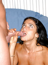 Latina milf with fine body taking two dicks at the same time