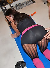 Super hot big tits brunette in pink yoga socks fucked hard in these hardcore screaming sex