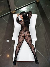 Amazing fishnet stockings babe  valerie fucked in the air in her hot ass hot fucking screaming sex