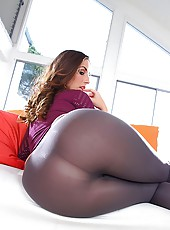 Amazing fish net shirt paige strips masturbates and her big ass fucked hard in these big dong cumfaced shower sex pics