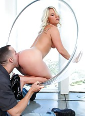 Kimmy olsen gets banged hard against the wall in this hot see though chair fucking cumfaced pic set