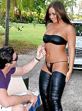 Hot big round ass lexxxy gets shows her hot black string bikini in the park then sucks a big dong in these hot hard fucking babe fucking pics and big hd video