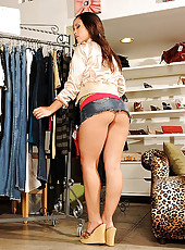 Super hot ass short mini skirt babe gets her tight box pounded hard after trying on some hot tight jeans in these hot banging pics