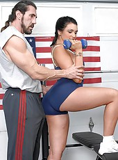 Super hot big ass american babe stumbles on a work out video instructor and gets her box ripped open in these hot gym fucking pics and video update