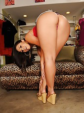 Amazing beautiful kristina bend over showing her ass in the shoe store then gets her hot ass pussy banged hard from behind on the store bench in these hot pics