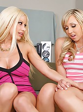 Uper hot blonde duo jessica and gina bounce on a cock in these hot bubble butt cum splashing pics