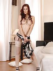 Redhead In Black & White Bustier