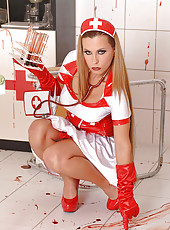 Nurse Crams Holes With Test Tubes