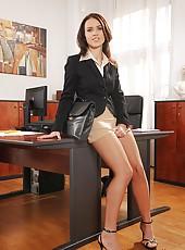Denise masturbating in the office!