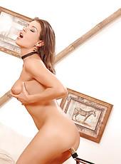 Sexy Lora Craft toying pussy & ass