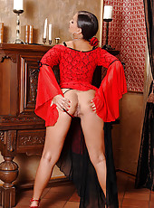 Eve Angel posing in Spanish dress