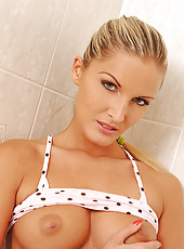 Blonde Neilla toying in bathroom
