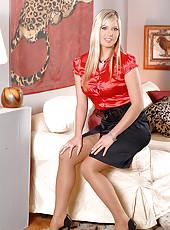 Horny hot blonde Carol stripteasing