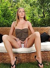 Hot blonde Ulrika toying outdoors