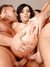 Babe banged in all holes by studs
