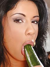 Hot Sorana fucking with a cucumber