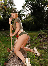 Horny blonde masturbating outside