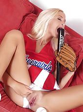 Blonde fucking with a baseball bat