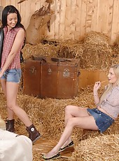 Lesbian encounter in the hayloft