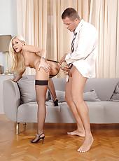 Hot blond Lis enjoys hard anal sex