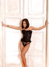 Hot babe Mya Diamond strips nude