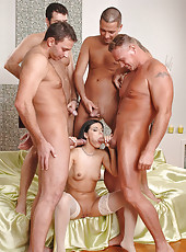 Hot slut Cory in hardcore gang bang