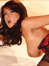 Seductive brunette in red lingerie