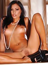 Hot brunette strip tease on her sexy lingerie