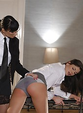 Brunette shows tight butt spanked