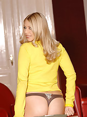 Busty newcomer Barbara strips nude