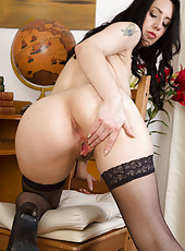 Sweet 30 year old Honesty looking hot in her black stockings