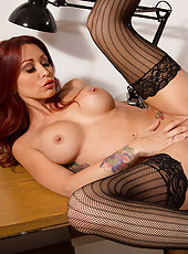 Monique Alexander is horny and at work so now she tries to fuck the big cock in her office by seducing him.