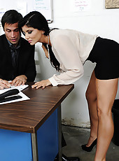 Hot busty brunette worker works her boss for whatever she needs.