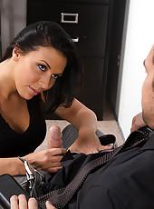 Hot babe Rachel Starr works her bosses cock.